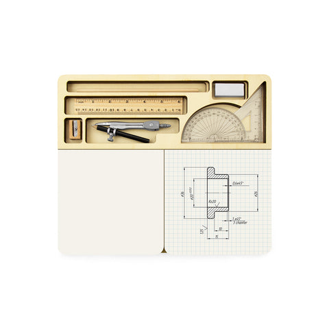 Notebook with an organized box set of measuring tools, sharpener, pencil, and eraser.