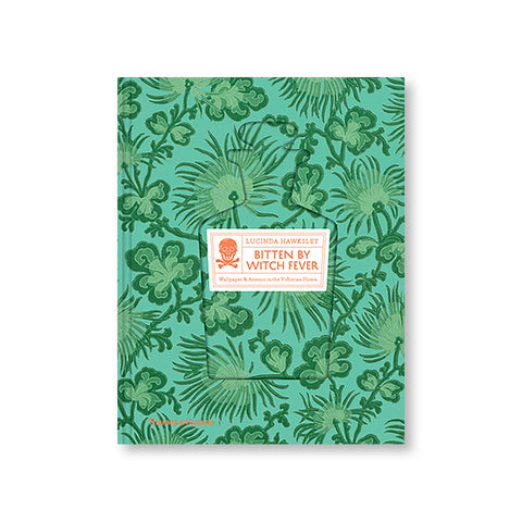 Book cover with a floral pattern in blues and greens. A space near the center is indented in the shape of a vial with a white box in the middle with the title information in orange vintage type