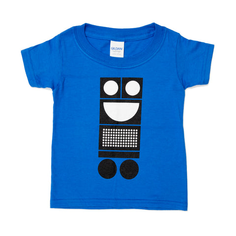 Royal blue kids t-shirt with graphic image of a Trash Bot in black and white