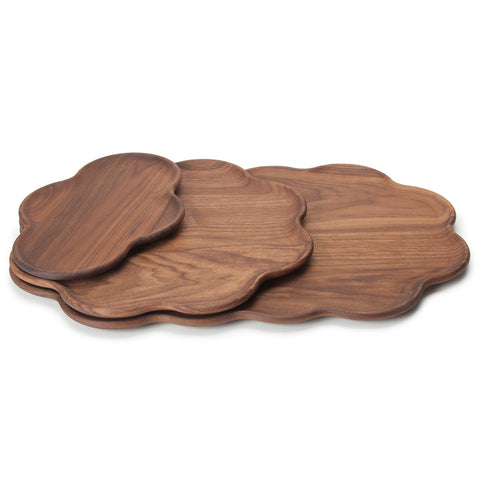 Tempus Trays in American hardwood. Each tray features a scalloped edge and nest together.