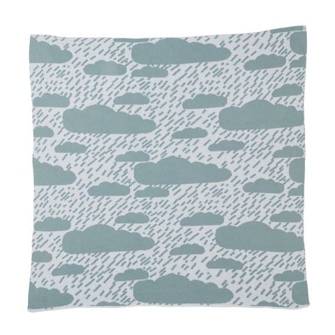 Square, cotton Baby Blanket in seafoam and white with a pattern of various size fluffy clouds and diagonal lines of rain, the perfect gift for a newborn and a lighter alternative for the summer months.
