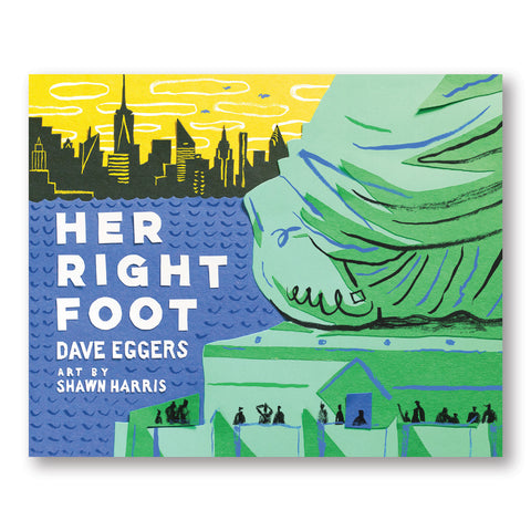 Illustrated book cover with detail of the statue of liberty's foot in greens blue and black. Below loosly drawn figures look up at the monument and a yellow and black new york skyline can be seen behind patterned blue water
