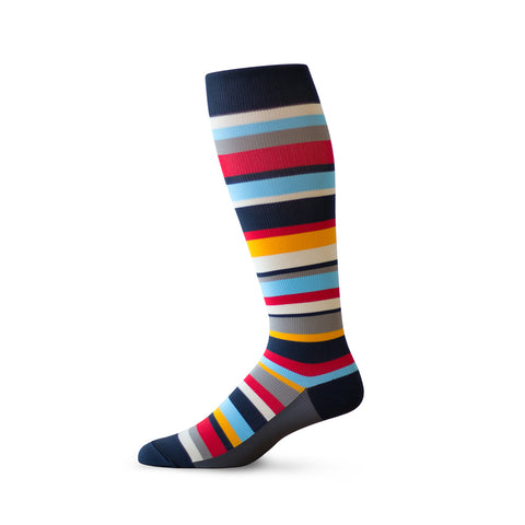 A sock with a mix of navy, red, taupe, yellow, white, and aqua stripes in varying thicknesses.
