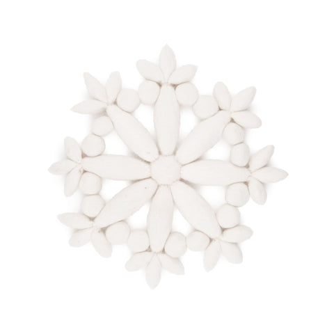 Plump white eight-pointed Felt Snowflake Trivet on a white background