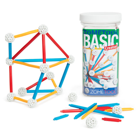 ZOMETOOL Basic Kit with primary colored parts connecting into geometric shapes