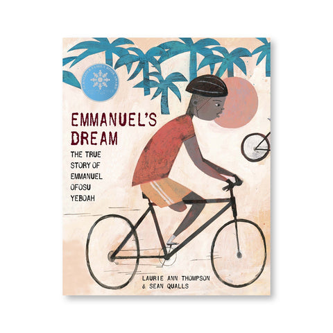 Book cover with an illustration of a young dark skinned figure with one leg on a bicycle with greenish blue palm trees in the background. Title to left