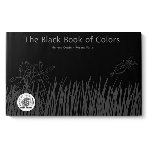 Black horizontal book cover with gray illustration of insect and grass under gray sans serif title