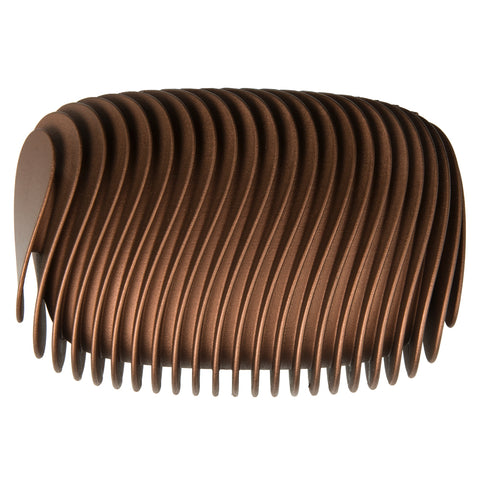 Brown clutch decorated with a vertical row of wavy ribs on both sides.