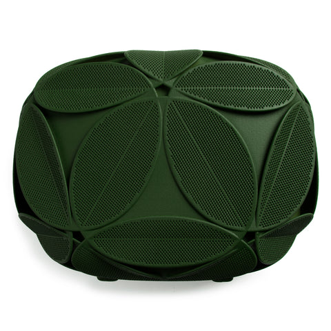 Green clutch decorated with an elaborate pattern of sculptural plant leaves, each is perforated with tiny holes.