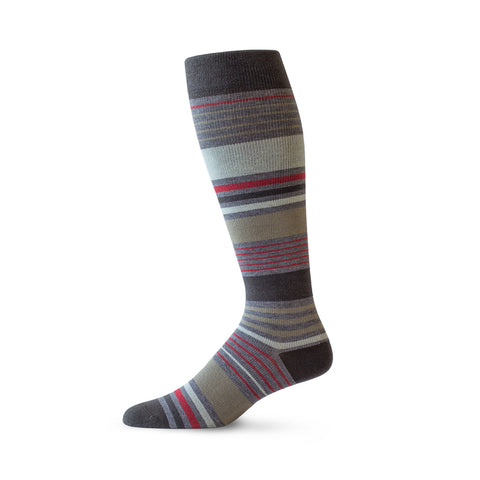 Sock with brown, red, beige and white stripes of varying thicknesses.