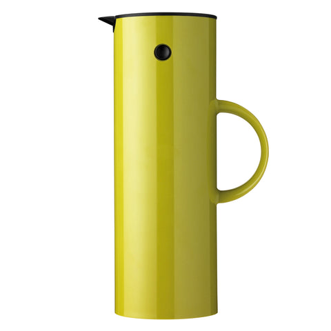 Profile view of the classic vacuum jug in bright Lime green, showing it's sleek, shiny surface,  tall minimal design, sleek cylindrical shape, and easy to hold side handle, with a black tilt-top lid and beak-shaped pour spout