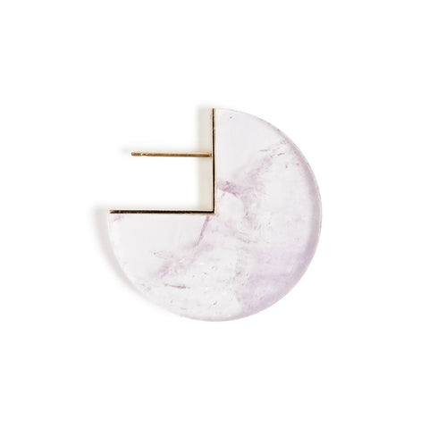 A thinly cut slice of Amethyst Stone use to make an earring. The round slice includes a 90 degree angled cut where a gold post has been inserted.