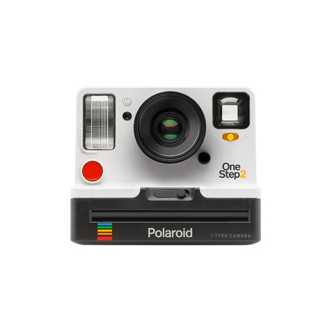 Front view of Polaroid camera in white color.