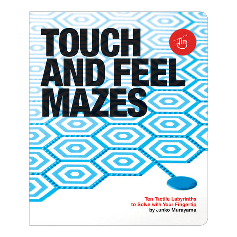 Book cover with black sans serif title over pattern of light blue hexagons bordered with rows of blue bumps and a red circle with a hand touching a dotted line