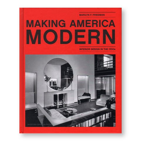 Red book cover with bold black san serif title above a black and white photo of a luxe living room scene