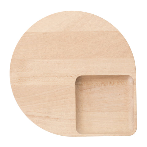 Rounded flat tray with a square curved deepening. Natural light wood with a smooth surface.