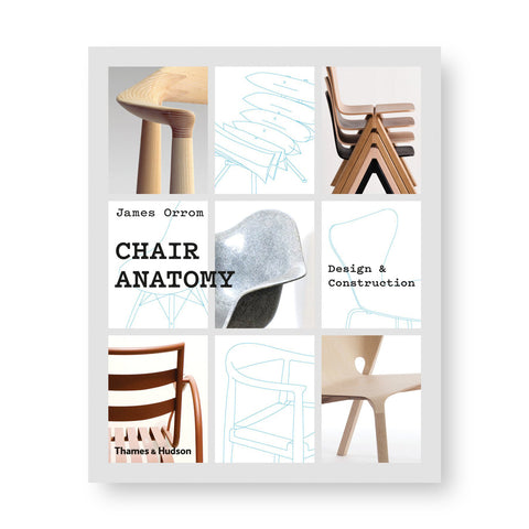 Gray book cover with grid of nine fields each with a color photograph or a blue and white sketch of a chair. Title in black serif font overlaid near center left
