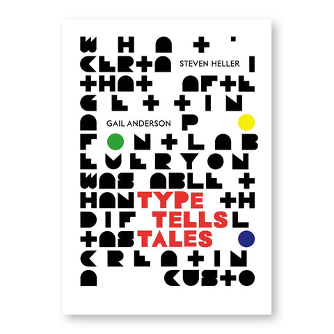 White book cover filled with colorful dots and geometric black and red letters some spelling out title near bottom right