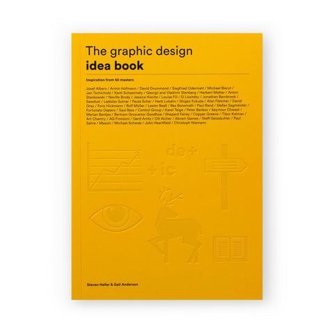 Yellow book cover with embossed pictographs at bottom and title information at top with dense listing of featured designers in the center