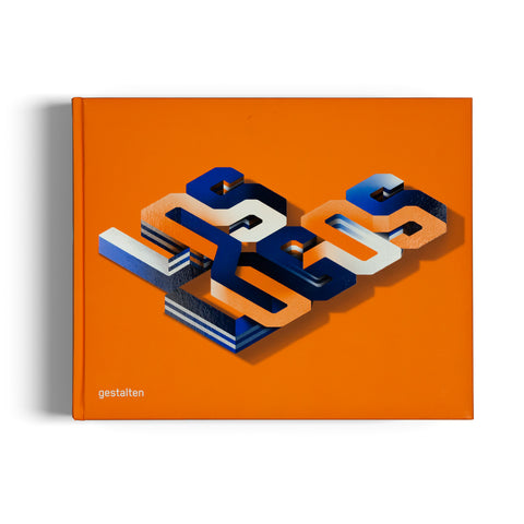 "Bright orange horizontal book cover with the words ""Los Logos"" diagonally placed in an intertwined font colored in orange blue and white"