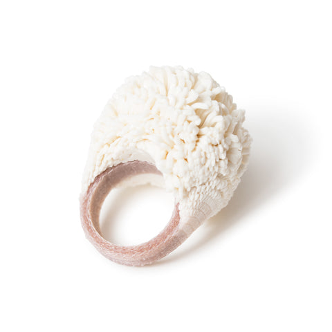 Boule Ring Vanilla; bulbous ring resembling a sea anemone as a result of silicon injected lace at the top of the ring