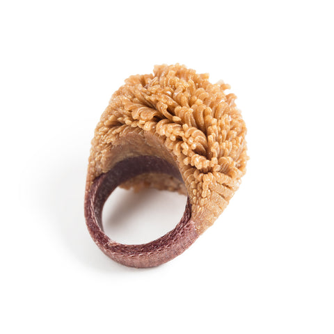 Boule Ring Camel/Gold; bulbous ring resembling a sea anemone as a result of silicon injected lace at the top of the ring