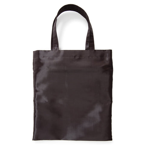 A coal gray carrying bag with a rectangular shape, crisp construction, shimmery surface and sturdy twin loop handles.