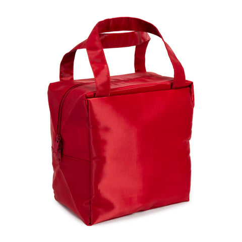Coal Square Bag Red showing its crisp square structure and shiny surface, with top zipper and twin hand straps.