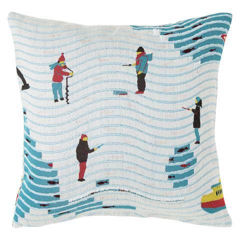 Snip Snap Lapland Fishing Cushion is covered in a textile depicting an ice fishing scene on a frozen lake in Lapland. The textile allows you to cut into it with scissors to reveal fish around the fishermen or simply clear blue water when you cut into the white threads of the frozen area.