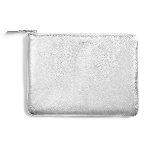 Metallic Pouch with top zip, brand name is embossed at top of pouch