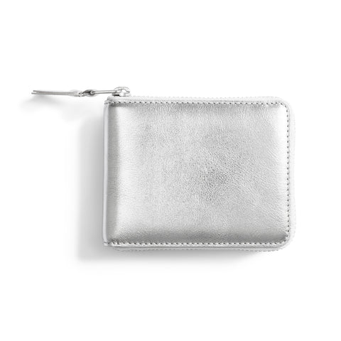 Medium-sized rectangular, all-around-zip leather wallet featured in metallic silver