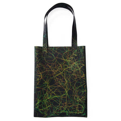 Large rectangular-shaped iridescent threads tote bag with two long shoulder straps