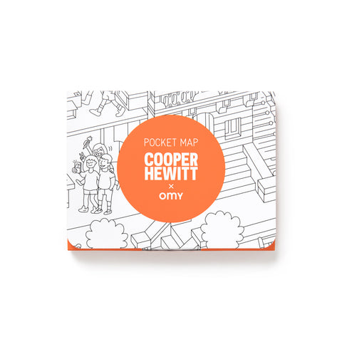 Cooper Hewitt Pocket Coloring Map packaging featured in white and orange