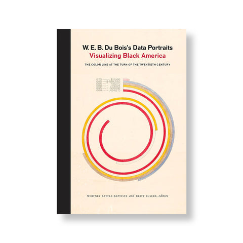 Cream colored book cover with black trim. Center of cover dominated by spiraling infographic with red yellow pink and purple lines