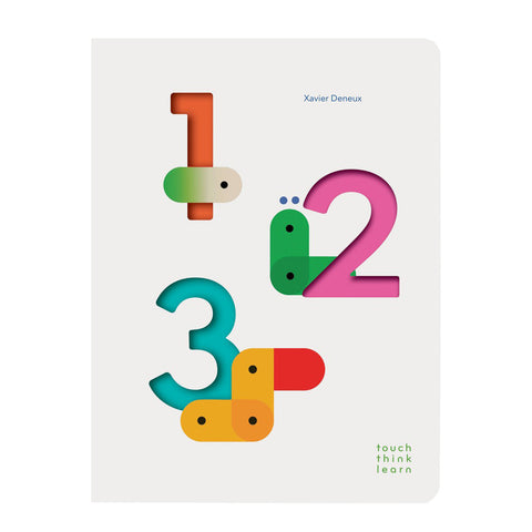 White book cover with rounded edges and die cut numbers revealing colorful shades inside the book accompanied by abstract bug like creatures