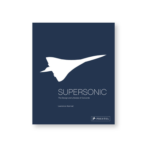 Navy blue book cover with white silhouette of the Concorde, a long plane with triangular wingspan, above title in thin white letters