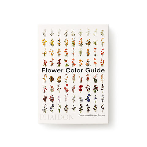 White book cover with a grid of flower arrangements organized by a color gradient. Title in black sans serif letters through the middle