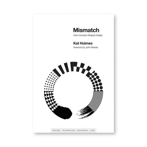 White book cover with a circular design in black and white of different shapes and patterns. Title in black at top