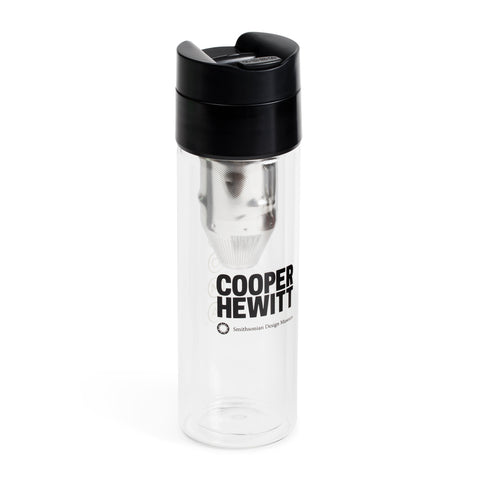 The brew bottle by Soma featuring black text that reads 'COOPER HEWITT' at its center.