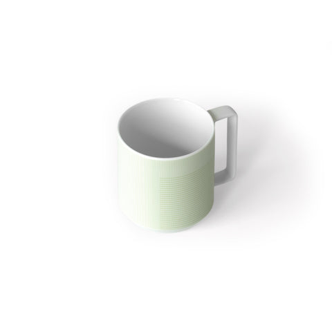Porcelain mug featuring a modern grid textile-inspired graphic, matte exterior with gloss interior.