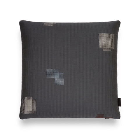 Dark gray colored square shaped pillow with embroidered patchwork detail