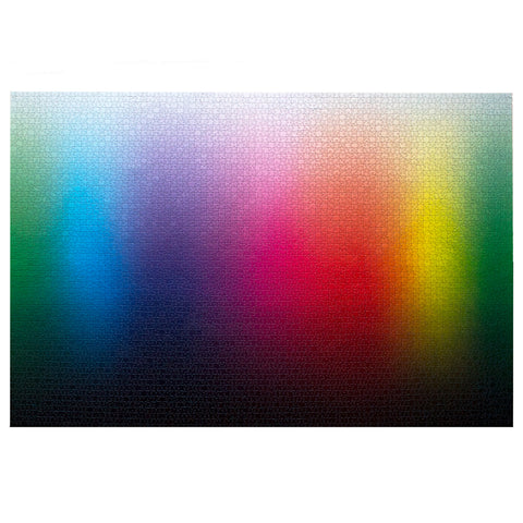 Fully built 5000 Colors Puzzle showing range of rainbow colors with light ti dark gradation.