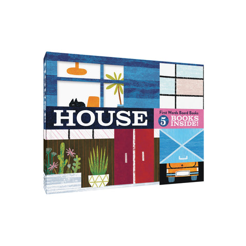 Illustrated book cover in lush midcentury color palette showing front of a house with a car and and cat peeking out