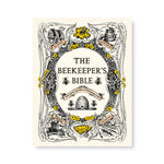Book cover with honeycomb pattern and an ornate cartouche of beekeeping implements, flowers, and bees