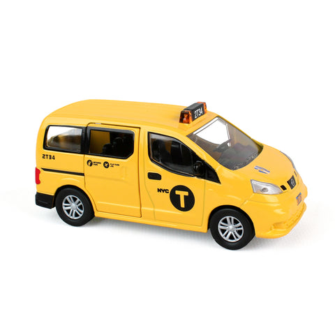 "Yellow SUV car miniature, large ""T"" graphic printed on the door"