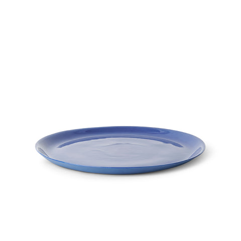 Blue platter with glazed finish