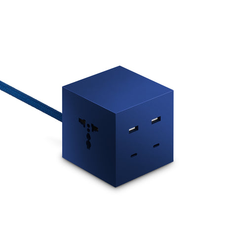 Blue resin cube with different openings for charges on three sides, blue textile cord.