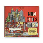 Horizontal reddish orange book cover with playful illustration of a city half above ground half below to the left of the hand-drawn title in black gray yellow and blue