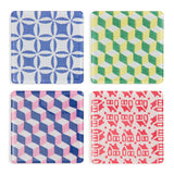 Four square coasters with four different vibrantly colored patterns. From top right colors blue and light grey; green yellow and light gray; blue, pink and light gray; red and light gray.