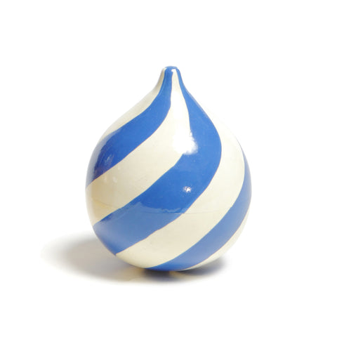 Made of lightweight linden wood and hand-painted, this onion-shaped bell is decorated in a swirling pattern of powder blue and white stripes and contains a small rod and coin.